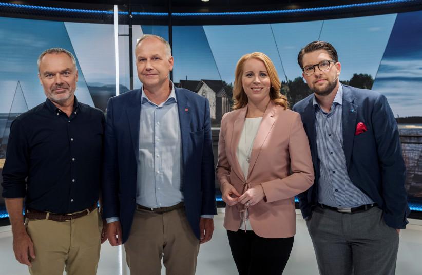 Swedish Liberal Party's Jan Bjorklund, Left Party's Jonas Sjostedt, Centre Party's Annie Loof and Sweden Democrats' Jimmie Akesson, Stockholm, 2018 (photo credit: TT NEWS AGENCY/STINA STJERNKVIST/VIA REUTERS)