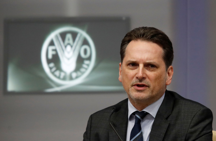 UNRWA Commissioner-General Pierre Krahenbuhl speaks during a summit, to address Palestinian UNWRA funding crisis, at the U.N. Food and Agriculture Organization (FAO) headquarters in Rome, Italy March 15, 2018 (photo credit: REMO CASILLI/ REUTERS)