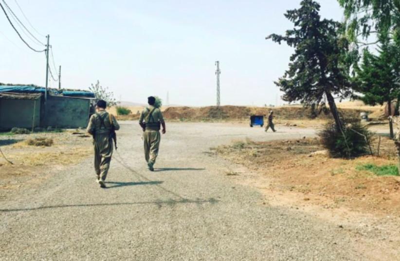 Kurdish members of the PDKI patrol a base near Koya (photo credit: Courtesy)