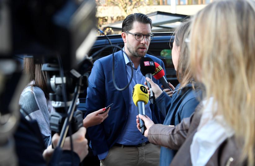 Sweden Democrat leader Jimmie Akesson talks to the media the morning after the general election, in Stockholm, Sweden September 10, 2018 (photo credit: TT NEWS AGENCY/HENRIK MONTGOMERY VIA REUTERS)