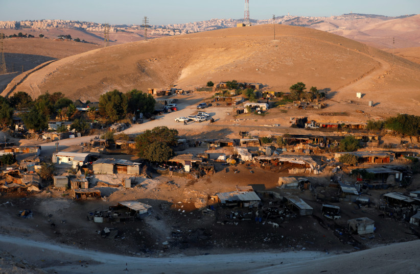 A general view shows the main part of the Palestinian Bedouin encampment of Khan al-Ahmar village that Israel plans to demolish, in the occupied West Bank (September 11, 2018).  (photo credit: REUTERS/MOHAMAD TOROKMAN)