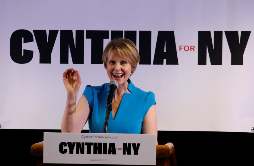 Actress Cynthia Nixon announces that she is running for Governor of New York at a campaign stop in Brooklyn, New York, March 20, 2018 (photo credit: SHANNON STAPLETON / REUTERS)