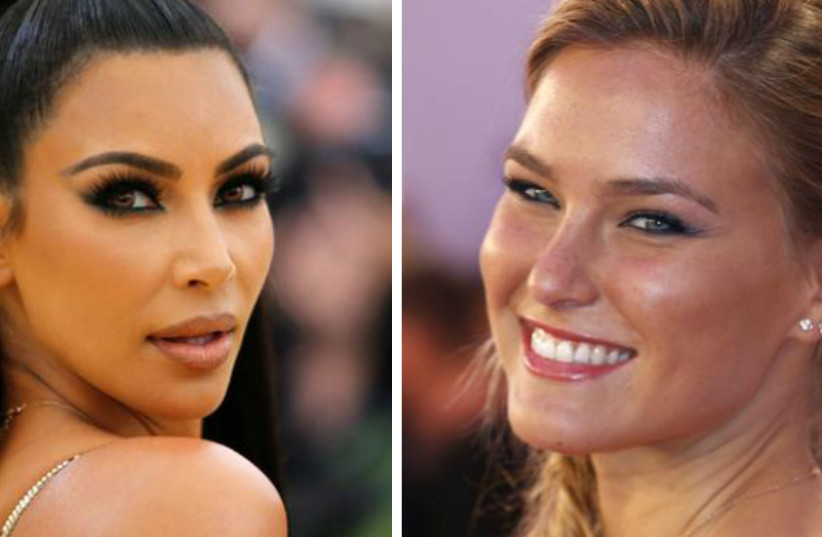 Kim Kardashian West (L) and Bar Refaeli (R). The pair will appear in an ad campaign in March 2019. (photo credit: EDUARDO MUNOZ/REUTERS & LUKE MACGREGOR/REUTERS)