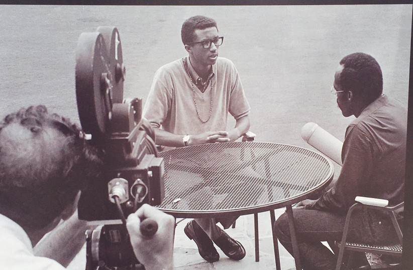A John Zimmerman phoograph of Arthur Ashe on display at the US Open (photo credit: Courtesy)