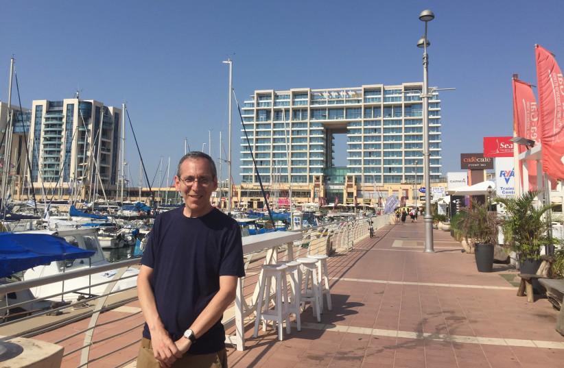 The writer at the Herzeliya marina (photo credit: Courtesy)