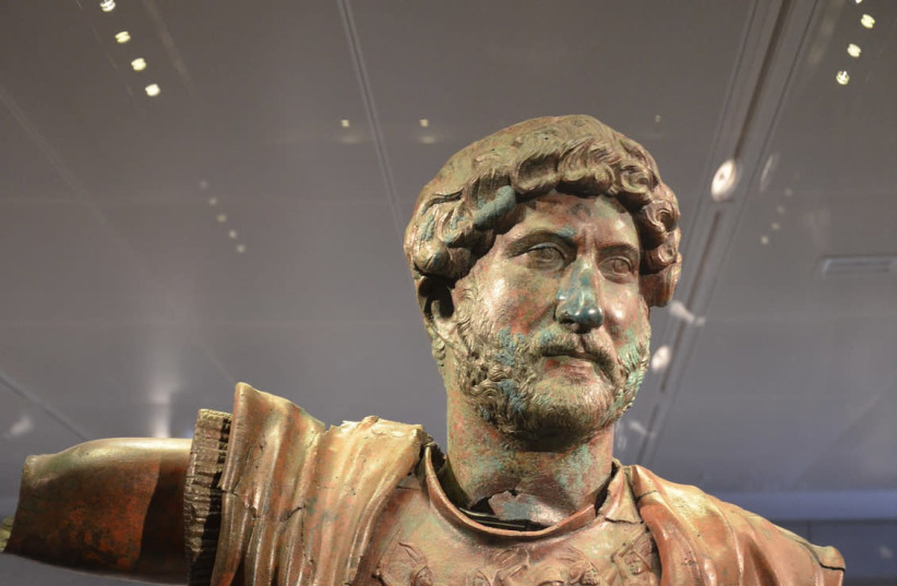 STATUE OF the Emperor Hadrian unearthed at Tel Shalem, commemorating the Roman military victory over Bar Kochba, displayed at the Israel Museum (photo credit: Wikimedia Commons)