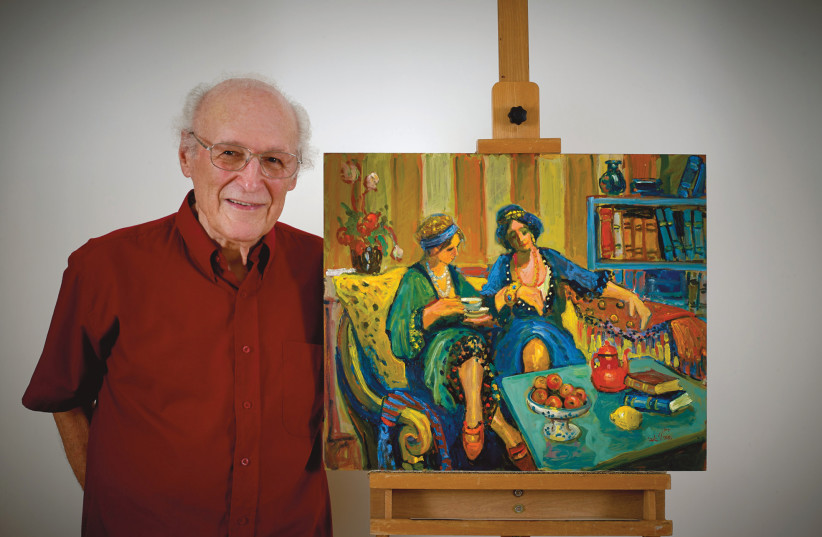 AVI SCHWARTZ displays his work: I wanted to paint my memories and what I remember, not from a photograph.  (photo credit: Courtesy)