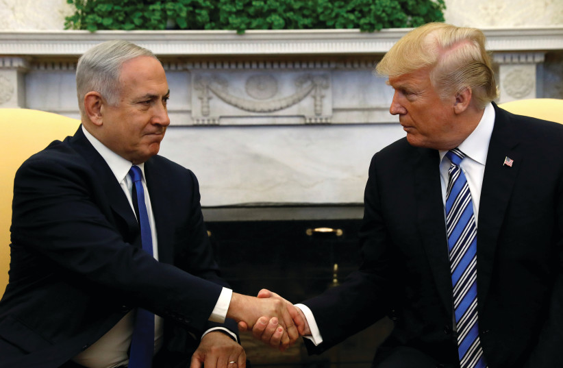 US President Donald Trump meets with Israel Prime Minister Benjamin Netanyahu in the Oval Office of the White House in Washington in March.  (photo credit: REUTERS)
