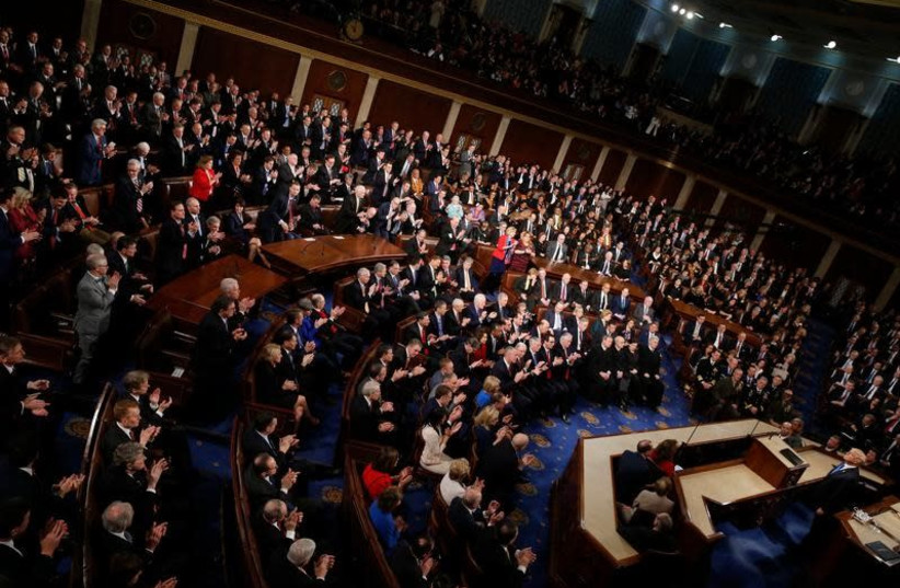 U.S. President Donald Trump delivers his State of the Union address to a joint session of the U.S. Congress on Capitol Hill in Washington, U.S. January 30, 2018 (photo credit: JONATHAN ERNST / REUTERS)