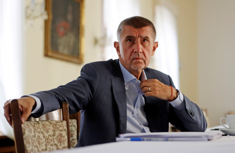 Czech Prime Minister Andrej Babis attends an interview with Reuters at the Hrzan's Palace in Prague (photo credit: DAVID W. CERNY / REUTERS)