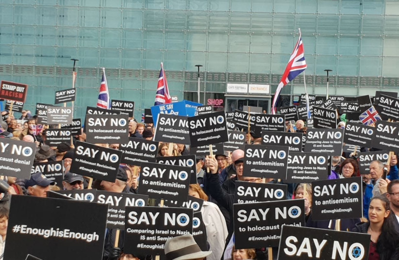 Jewish Community protesting antisemitism in Manchester demonstration (photo credit: RAPHI BLOOM)
