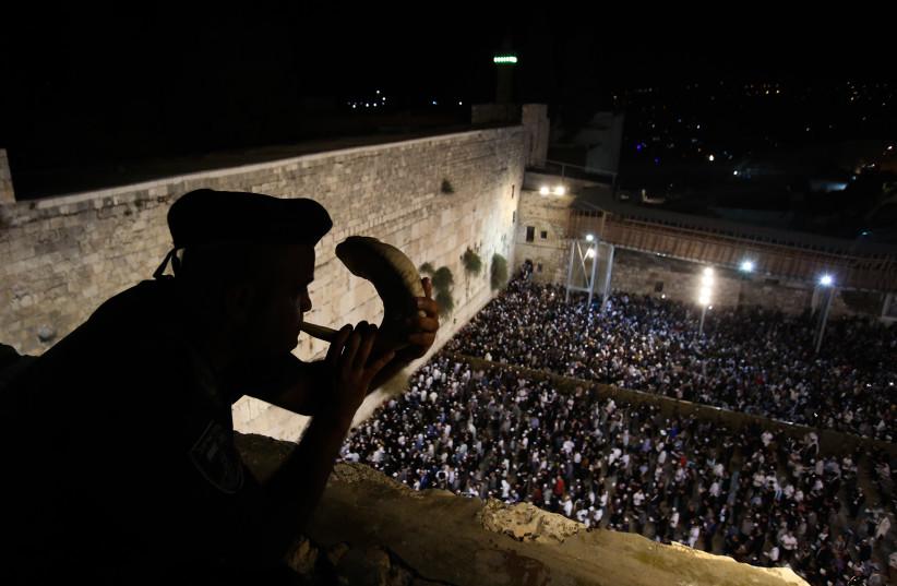 Slichot at the Western Wall, Jerusalem, September 2018 (photo credit: MARC ISRAEL SELLEM/THE JERUSALEM POST)