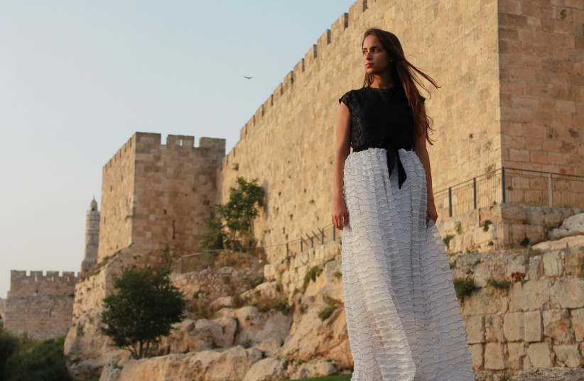 JERUSALEM'S OLD City walls play host to a Brager Couture Black & White gown (photo credit: NINA BRODER)