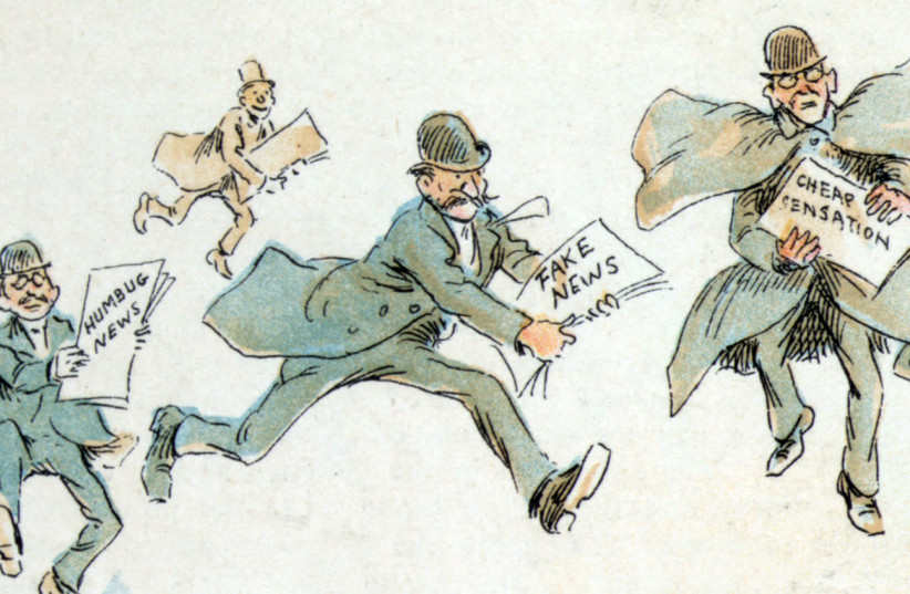 Reporters with various forms of 'fake news,' 1894 illustration by Frederick Burr Opper (photo credit: Wikimedia Commons)