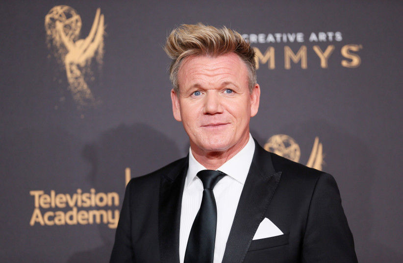 Chef Gordon Ramsay poses at the 2017 Creative Arts Emmy Awards in Los Angeles (photo credit: DANNY MOLOSHOK/ REUTERS)