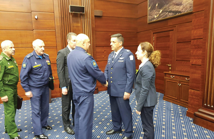 ISRAEL AIR FORCE Commander Maj.-Gen. Amikam Norkin (second right) meets with senior Russian officials in Moscow yesterday (photo credit: IDF)