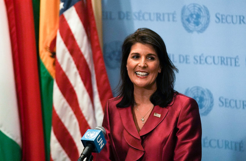 US Ambassador to the United Nations Nikki Haley speaks during a news conference at UN headquarters in Manhattan, New York, 2018 (photo credit: JEENAH MOON/REUTERS)