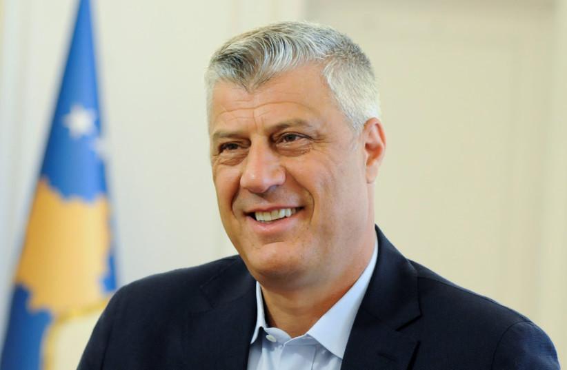 Kosovo President Hashim Thaci speaks during interview in Pristina, Kosovo August 14, 2018 (photo credit: REUTERS/LAURA HASANI)