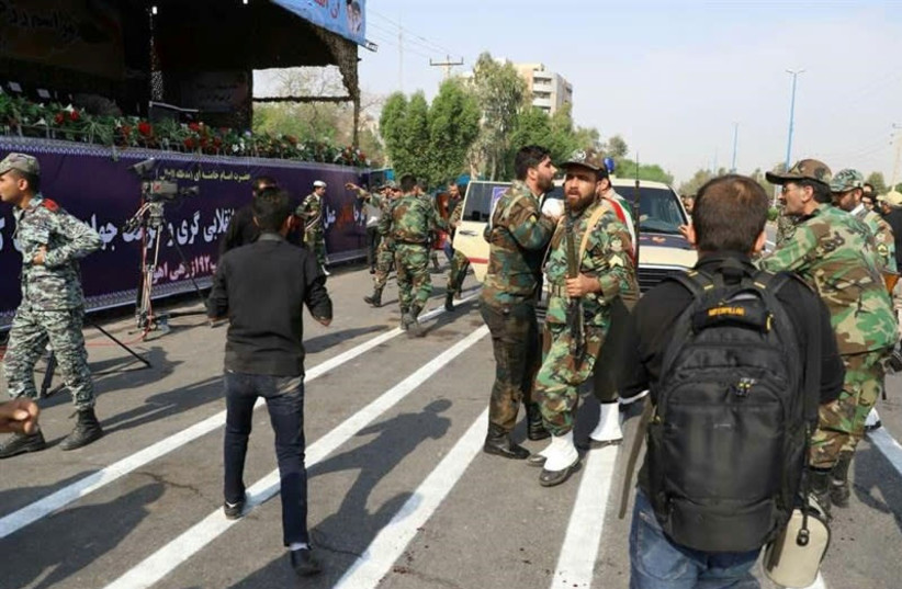 A general view of the attack during the military parade in Ahvaz, Iran, 2018 (photo credit: REUTERS/TASNIM NEWS AGENCY)