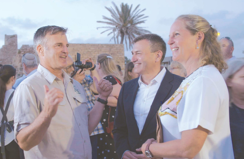 Baronesss Ariene de Rothschild with Shaul Goldstein, CEO of the Nature and Parks Authority and Guy Swersky, vice chairman of the Edmond de Rothschild Foundation in Caesarea (photo credit: COURTESY EDMOND DE ROTHSCHILD FOUNDATION)