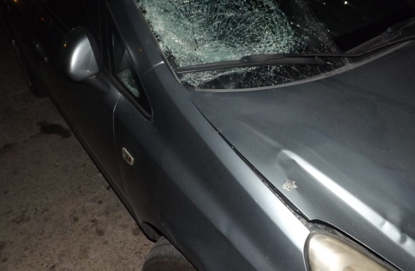 Car involved in Jerusalem hit-and-run incident (photo credit: ISRAEL POLICE)