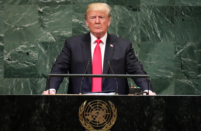 US President Donald Trump pauses as he addresses the 73rd session of the United Nations General Assembly at UN headquarters in New York, September 25, 2018 (photo credit: CARLO ALLEGRI/REUTERS)