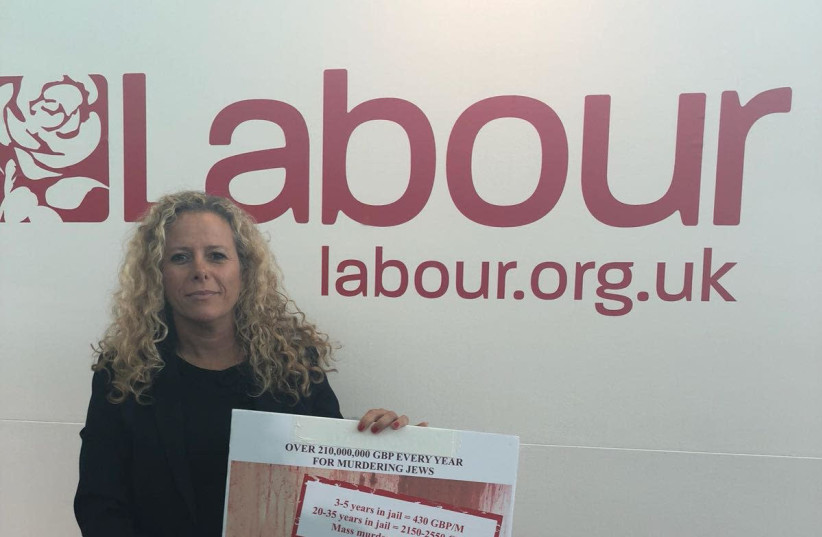 Zionist Union MK Ayelet Nachmias-Verbin at the UK Labour Party Conference with a poster on Palestinian Authority monetary payments to convicted terrorists (photo credit: IVRY VERBIN)