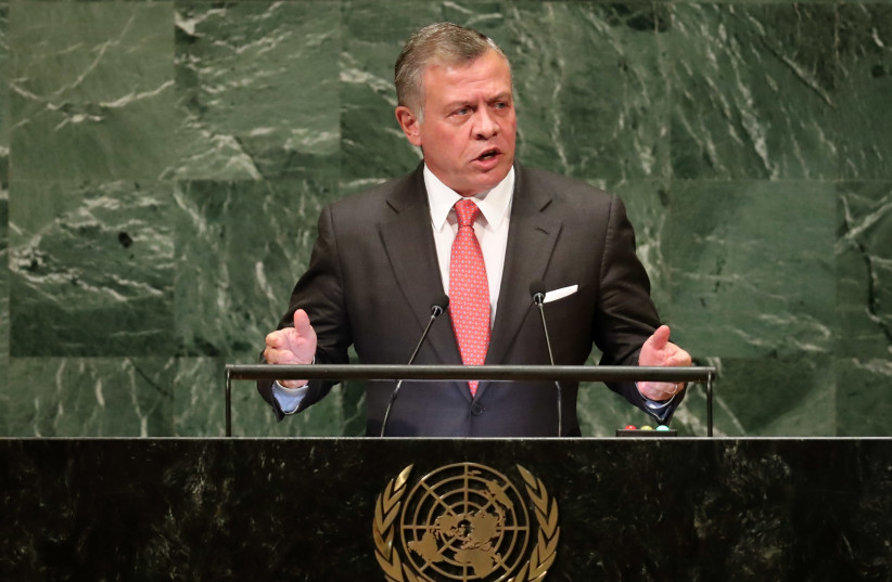 Jordan's King Abdullah II ibn Al Hussein addresses the 73rd session of the United Nations General Assembly at UN headquarters in New York, September 25, 2018 (photo credit: CARLO ALLEGRI/REUTERS)