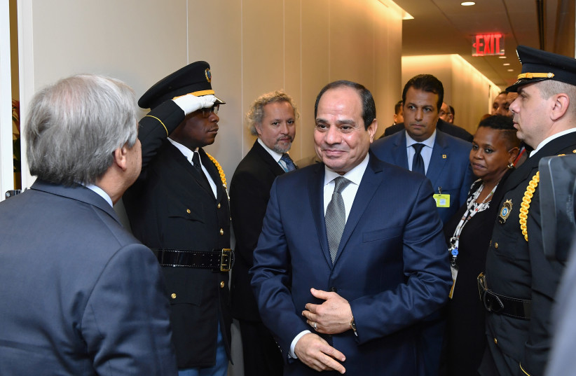 President of the Arab Republic of Egypt, Abdel Fattah El-Sisi arrives at the United Nations headquarters in New York, September 25, 2018 (photo credit: ANGELA WEISS/REUTERS)
