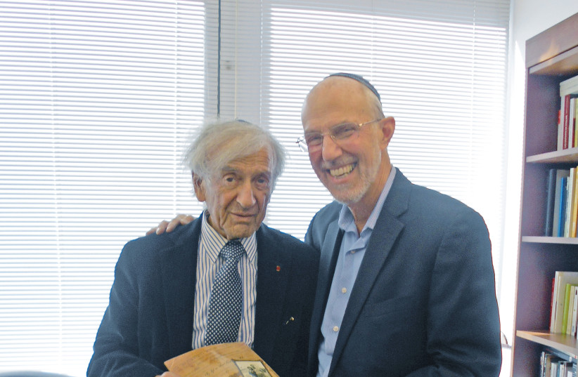 Jonathan Porath (R) and Elie Wiesel (L) (photo credit: Courtesy)