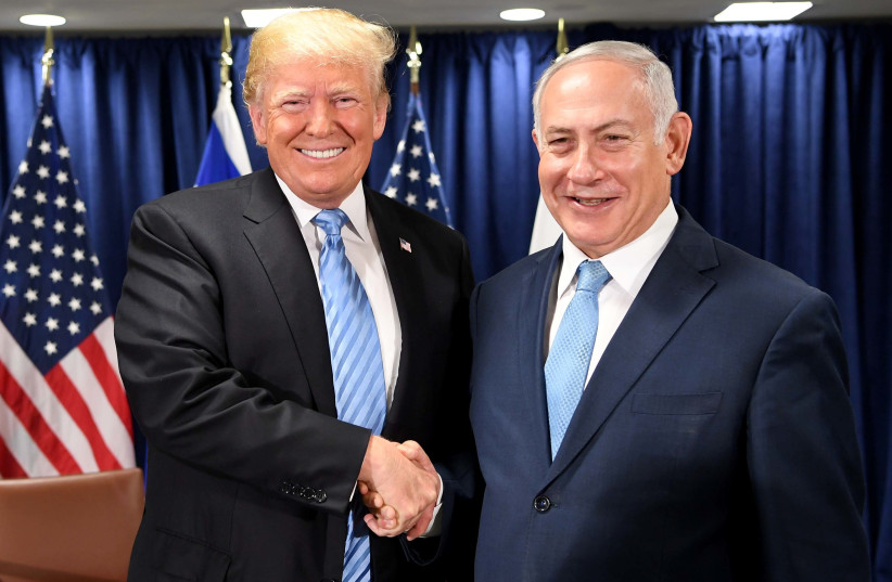 Benjamin Netanyahu and Donald Trump speaking at the U.N. Security Council, Spetember 26th, 2018 (photo credit: GPO PHOTO DEPARTMENT)