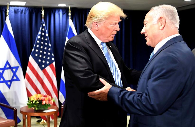 Benjamin Netanyahu and Donald Trump speaking at UN Security Council, Spetember 26, 2018 (photo credit: GPO PHOTO DEPARTMENT)
