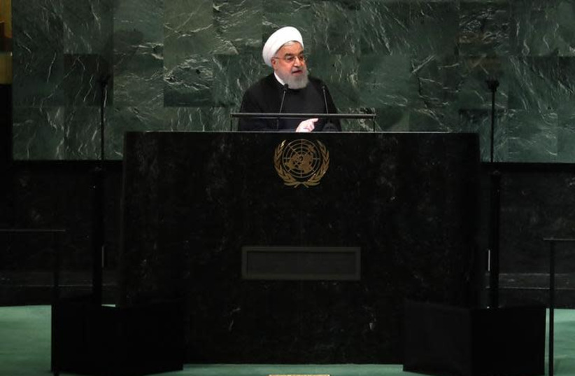 Iran's President Hassan Rouhani addresses the 73rd session of the United Nations General Assembly at U.N. headquarters in New York (photo credit: CARLO ALLEGRI/REUTERS)