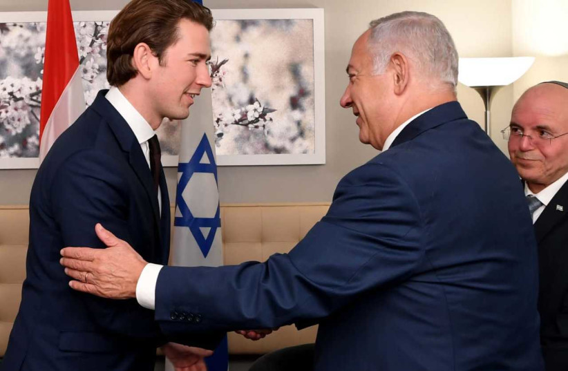 Binyamin Netanyahu with Austrian Chancellor Sebastian Kurtz in New York on Wednesday, September 26, 2018. (photo credit: AVI HAYOUN)