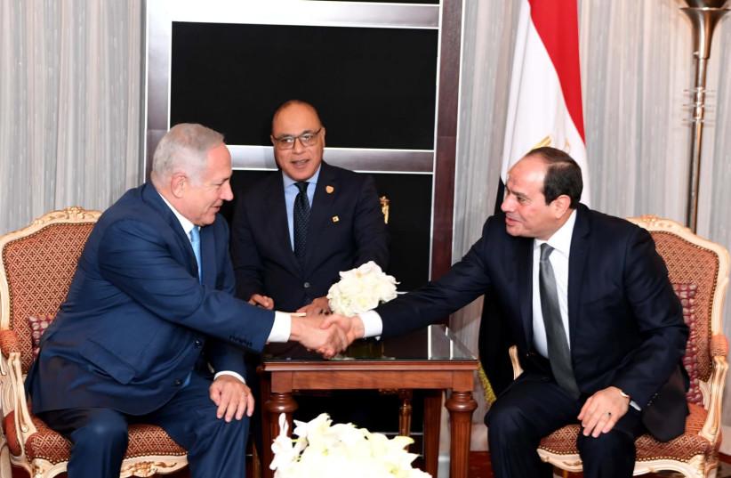Egyptian President Abdel Fatah al-Sisi meets with Prime Minister Benjamin Netanyahu, September 26, 2018 (photo credit: GPO)