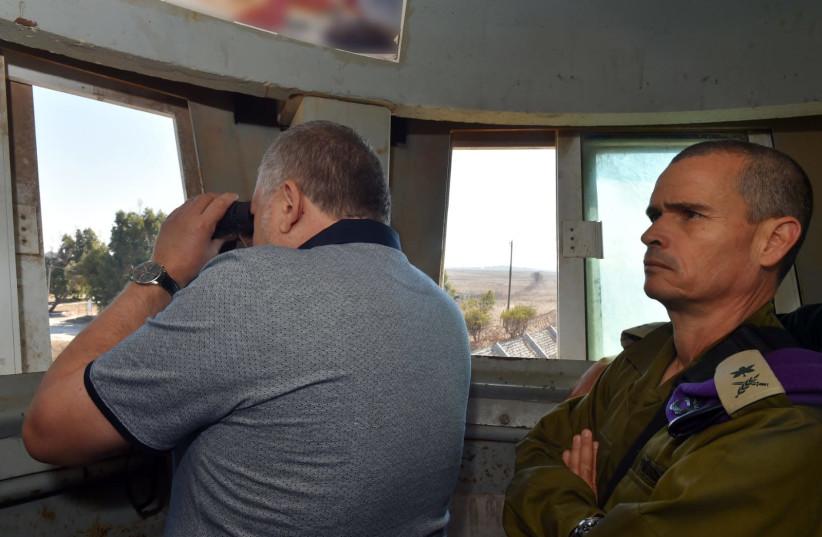 Defense Minister Avigdor Liberman at the Quneitra border crossing, September 27, 2018 (photo credit: DEFENSE MINISTRY)