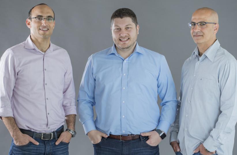 Co-founders of Forter (L-R) Liron Damri, Michael Reitblat, Alon Shemesh (photo credit: VICTOR LEVI)