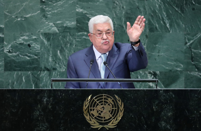 Palestinian President Mahmoud Abbas addresses the 73rd session of the United Nations General Assembly at UN headquarters in New York, U.S., September 27, 2018. (photo credit: CARLO ALLEGRI/REUTERS)