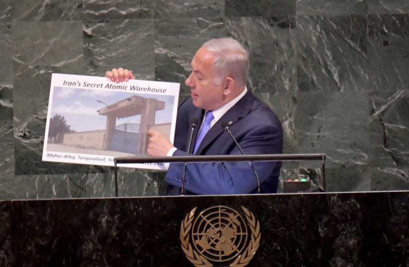 Prime Minister Benjamin Netanyahu delivering a speech at the UNGA in New York on September 27th, 2018. (photo credit: AVI OHAYON - GPO)