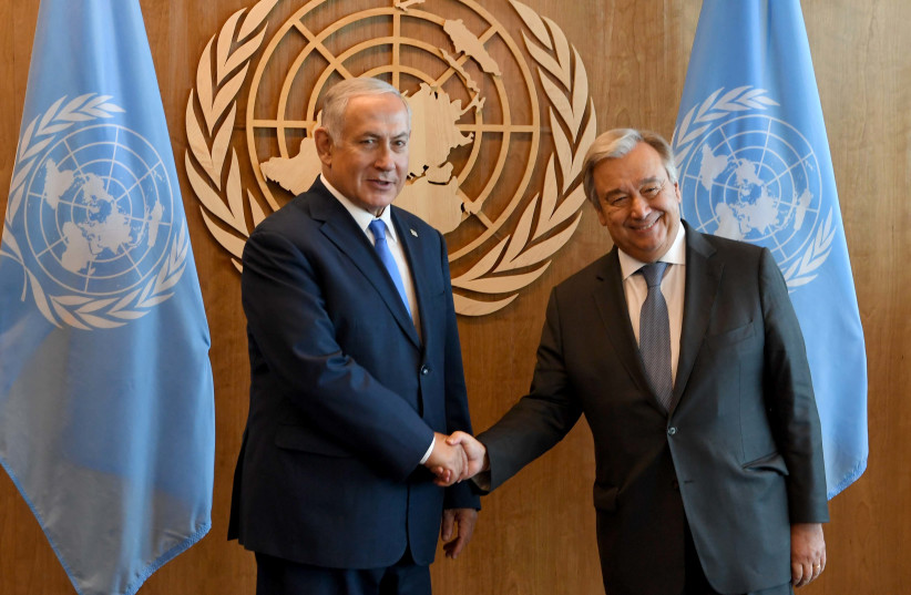 Prime Minister Benjamin Netanyahu met with the UN Secretary-General in New York. (photo credit: AVI OHAYON - GPO)