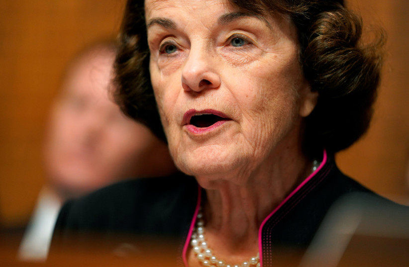 Sen. Dianne Feinstein, D-CA, the ranking member, speaks before Christine Blasey Ford testifies to the Senate Judiciary Committee on Capitol Hill in Washington U.S., September 27, 2018. (photo credit: REUTERS)