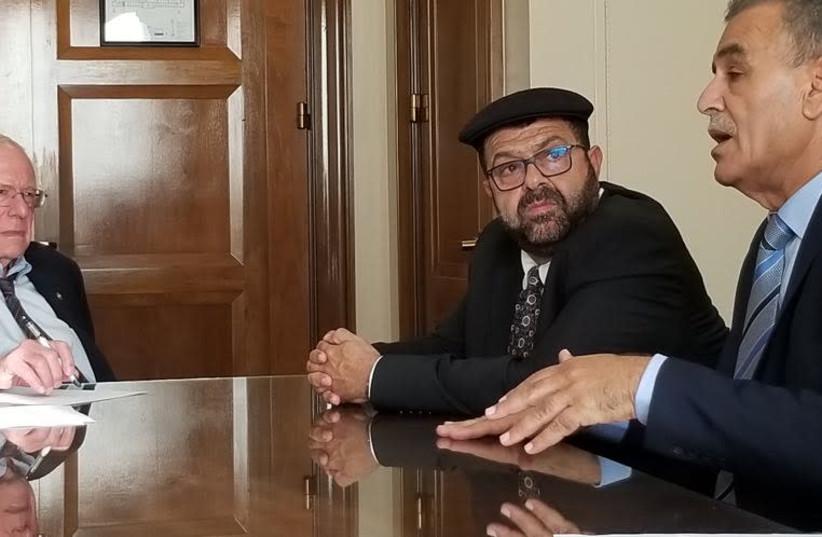 MKs Yusef Jabarin (left) and Jamal Zahalka meet with Senator Bernie Sanders (photo credit: COURTESY JOINT LIST)