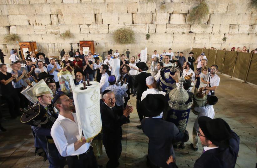 Simchat Torah at the Kotel (Western Wall), Jerusalem, October 2018.  (photo credit: MARC ISRAEL SELLEM)