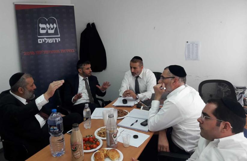 Shas leader Arye Deri convenes Shas members of the Jerusalem city council.  (photo credit: Courtesy)