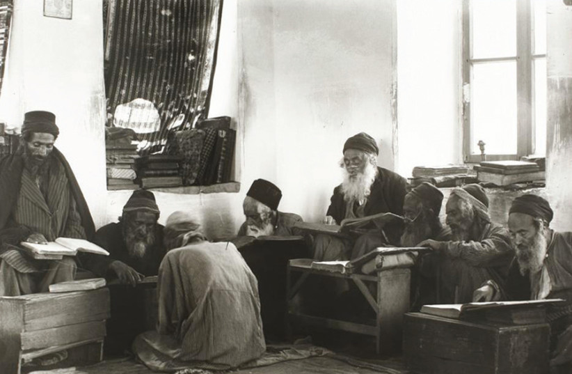 TORAH STUDY in the early 1920s. (photo credit: EPHRAIM MOSHE LILIEN/WIKIMEDIA COMMONS)
