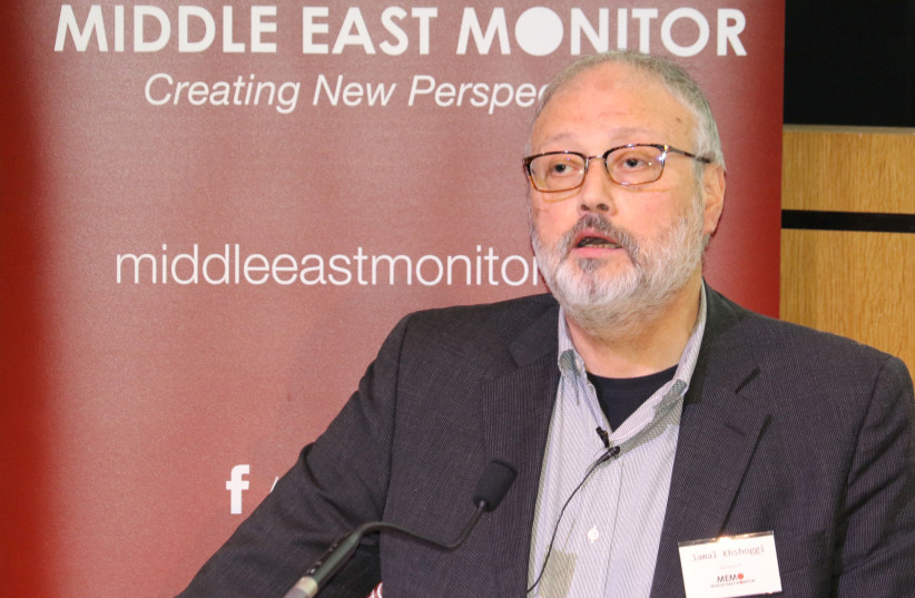 Saudi dissident Jamal Khashoggi speaks at an event hosted by Middle East Monitor in London Britain, September 29, 2018. Picture taken September 29, 2018 (photo credit: MIDDLE EAST MONITOR)