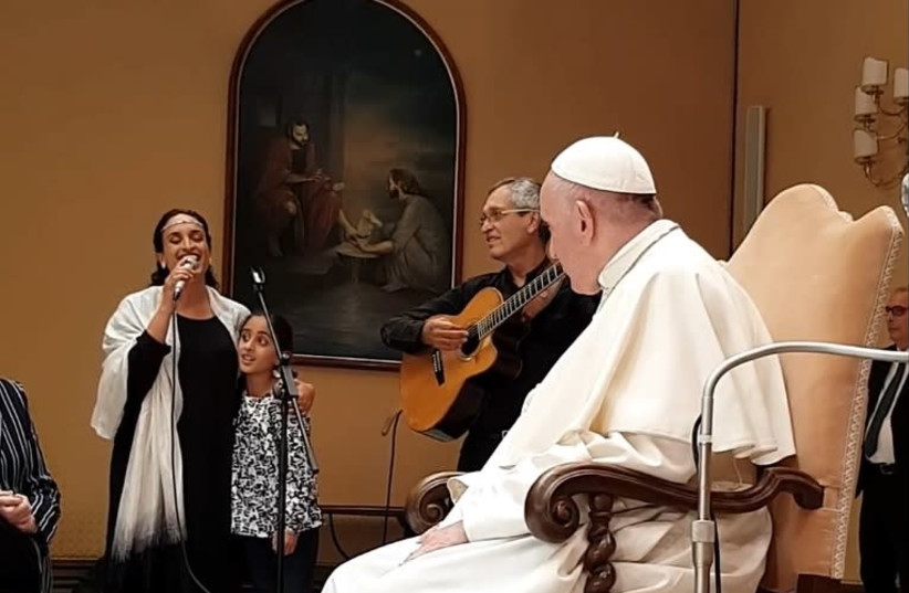 Achinoam Nini and her daughter, Yum, perform for the Pope last weekend. (photo credit: Courtesy)