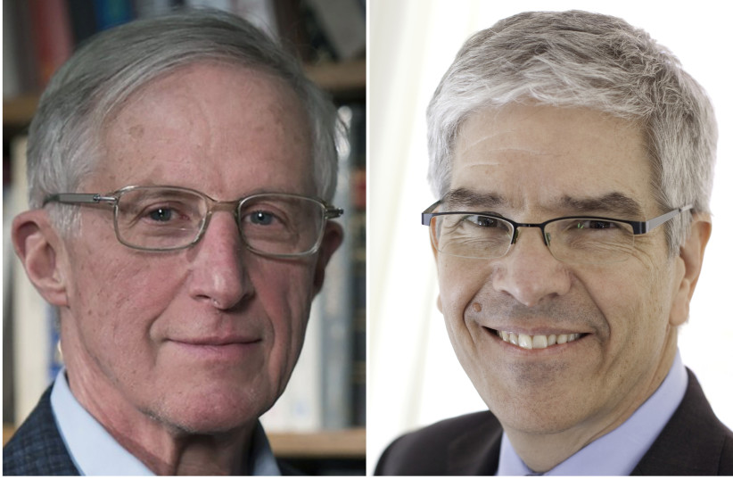 A combination picture shows William D. Nordhaus (L) and Paul Romer, who have won the 2018 Nobel Economics Prize (photo credit: YALE UNIVERSITY/NYU STERN SCHOOL OF BUSINESS/HANDOUTS VIA REUTERS)