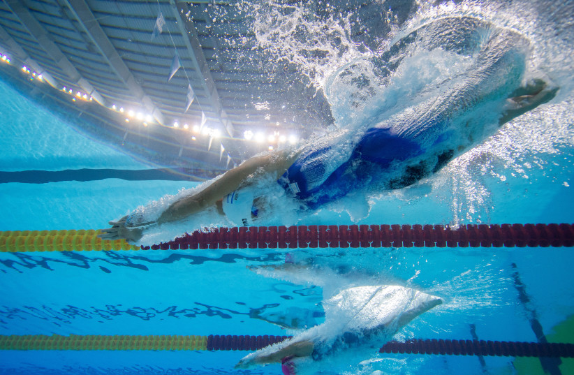 Anastasia Gorbenko ISR diving in on her way to winning gold in the Swimming Womens 200m Individual Medley at the Youth Olympic Games (photo credit: JOEL MARKLUND FOR OIS/IOC/HANDOUT VIA REUTERS)