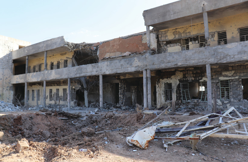 The aftermath of an Iranian ballistic missile strike on the Koya headquarters of the KDP-I Iranian opposition group in northern Iraq (photo credit: ZACH HUFF)